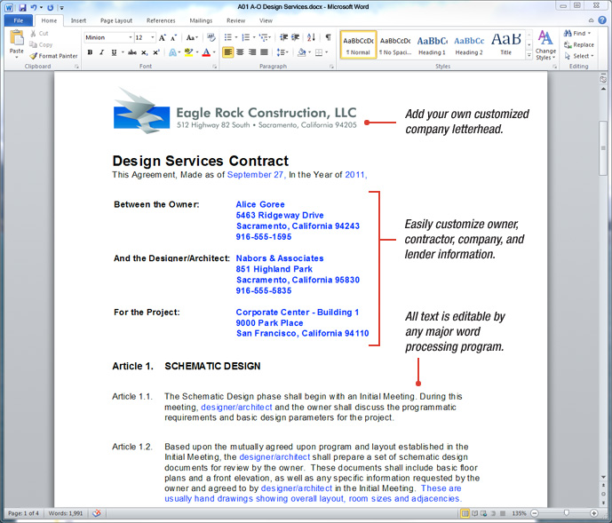 Uda Constructiondocs  Architectural Construction Contract Templates