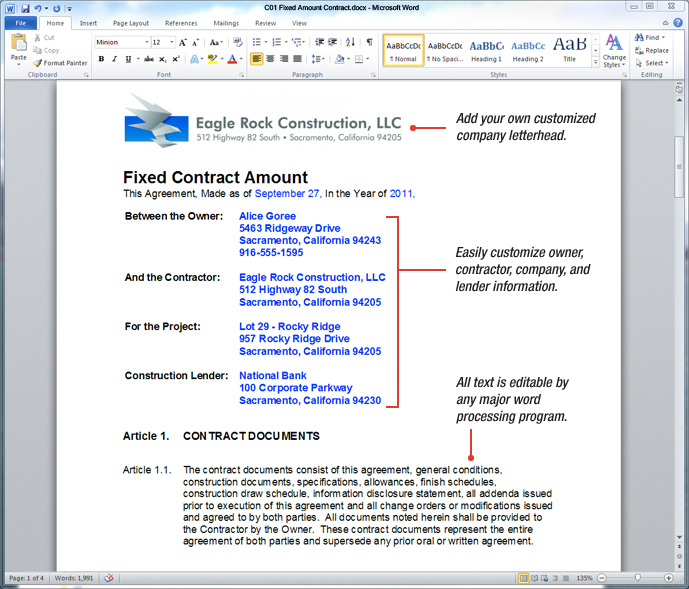 Sample Construction Contract  Construction Contract Template Word