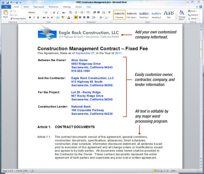 Uda Constructiondocs Construction Management Contract Templates
