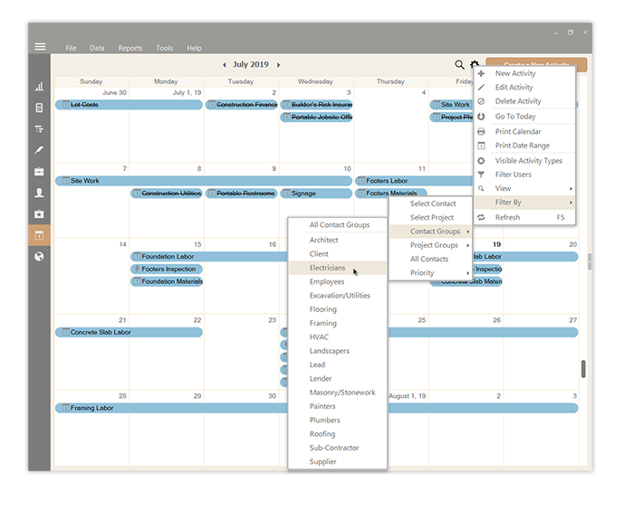 UDA ConstructionSuite Integrated Calendar