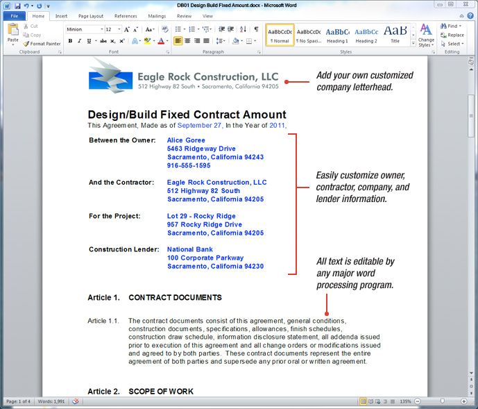 Sample Design Build Construction Contract  Construction Contract Template Word
