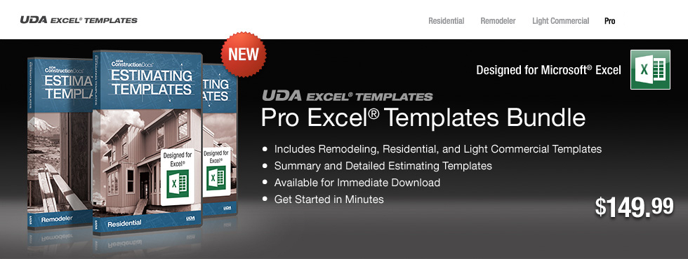UDA Construction Estimating Templates - Pro Excel Templates