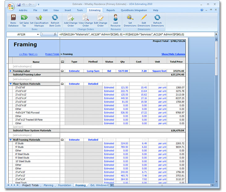 UDA ConstructionSuite | Green - RS Means Cost Data