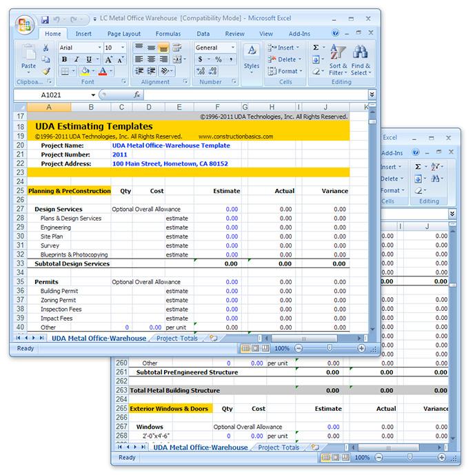 Uda Construction Estimating Templates Light Commercial Excel Templates