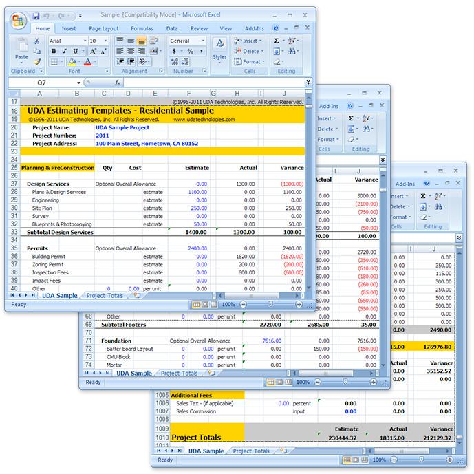 Uda Construction Estimating Templates Pro Excel Templates