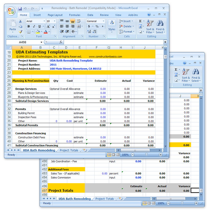 Uda Construction Estimating Templates  Remodeling Excel Templates