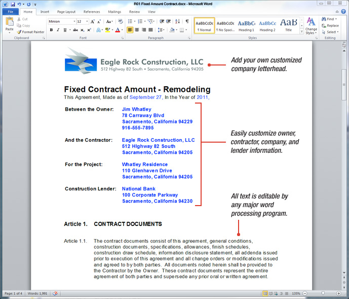 UDA ConstructionDocs Remodeling Contract Templates – Remodeling Contract Template Sample