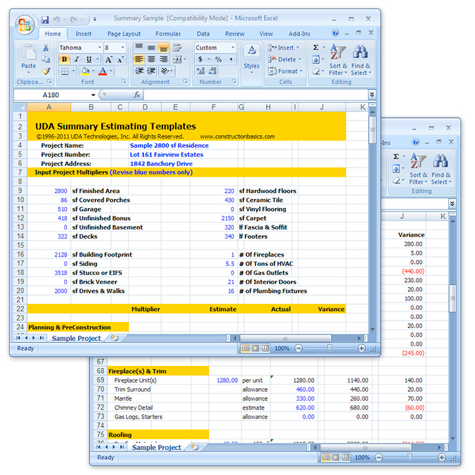 Uda Construction Estimating Templates - Residential Excel Templates