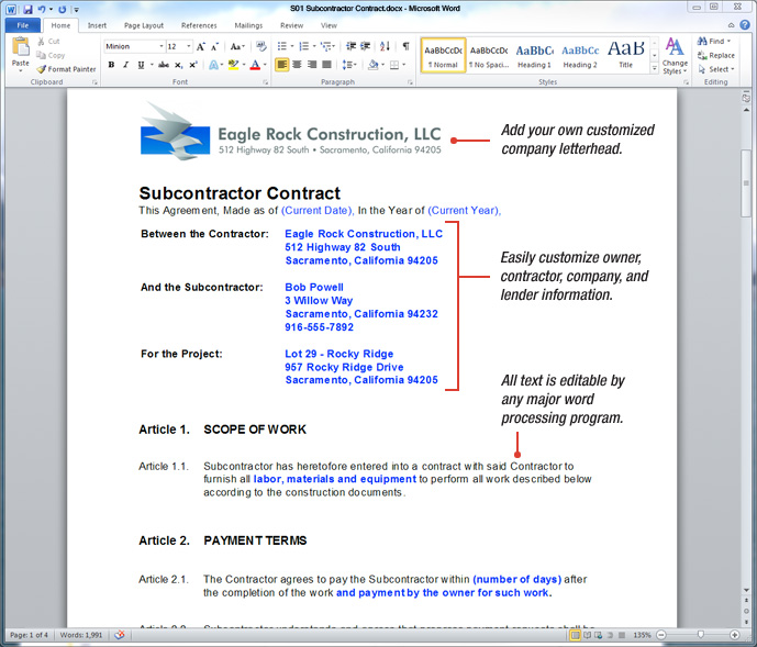 Uda Constructiondocs  Subcontractor Contract Templates