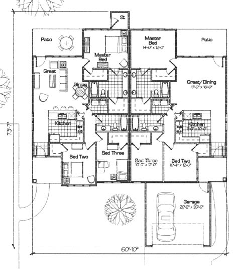 Fourplex house plans floor plans Fourplex apartment plans